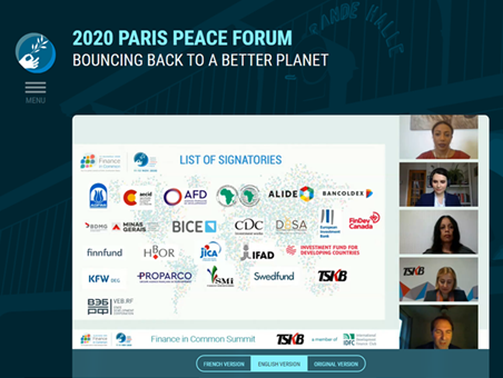 The Paris Peace Forum and the Finance in Common Summit emphasize the importance of Generation Equality in building back better from COVID-19