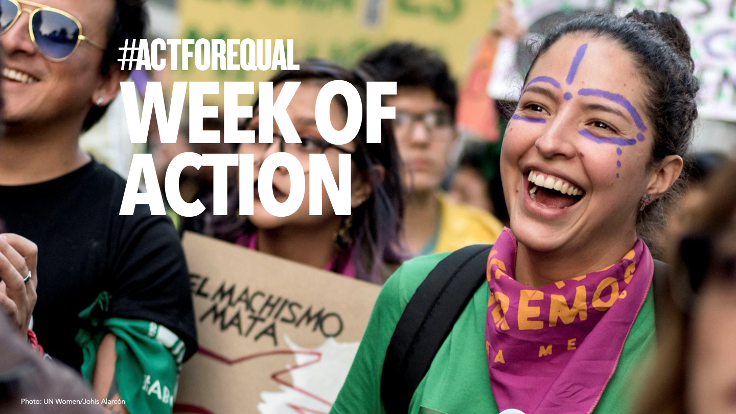 Week of Action Banner with youth activist